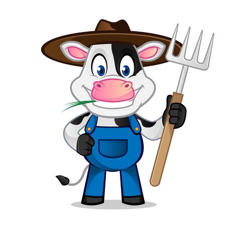Cow as farmer holding rake Vettoriali