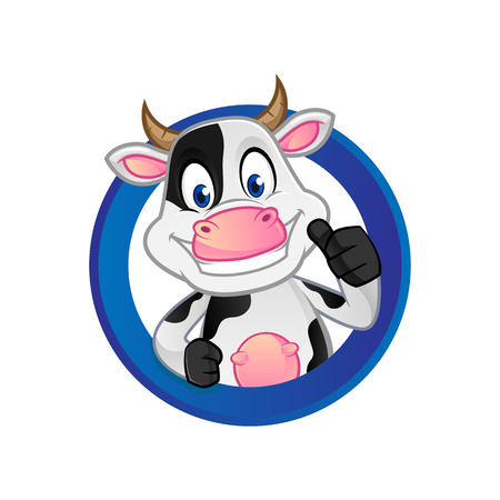 Cow giving thumb up inside circle