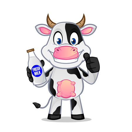 Cow holding milk bottle and give thumb up