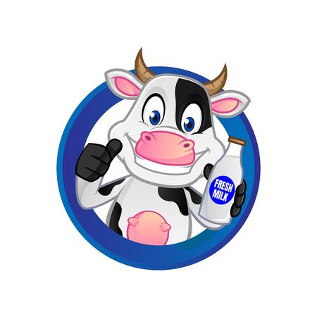 Cow inside circle holding milk bottle