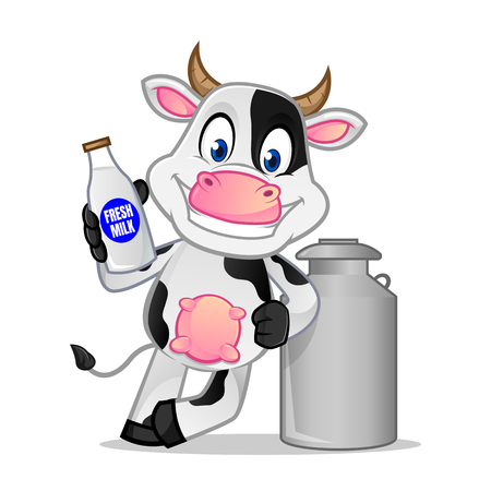 Cow leaning on milk can