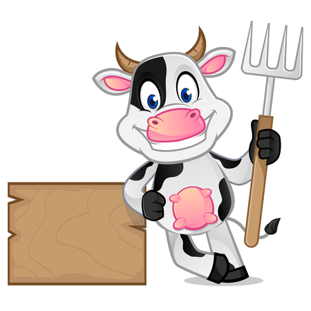 Cow leaning on wooden plank