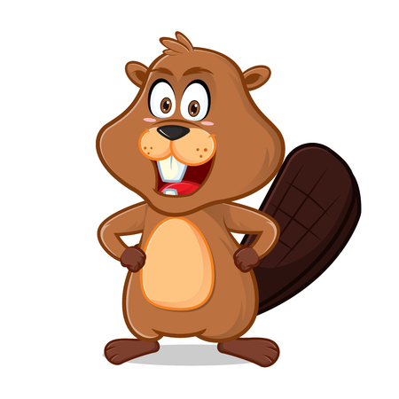Beaver smiling cartoon illustration, can be download in vector format for unlimited image size.