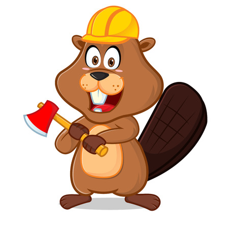 Beaver wearing helmet carrying axe cartoon illustration, can be download in vector format for unlimited image size.