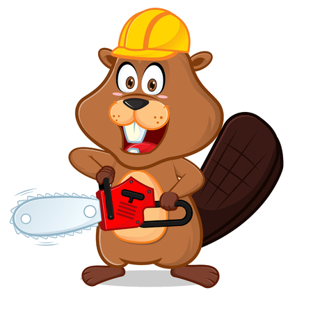 Beaver wearing helmet carrying chainsaw cartoon illustration, can be download in vector format for unlimited image size.