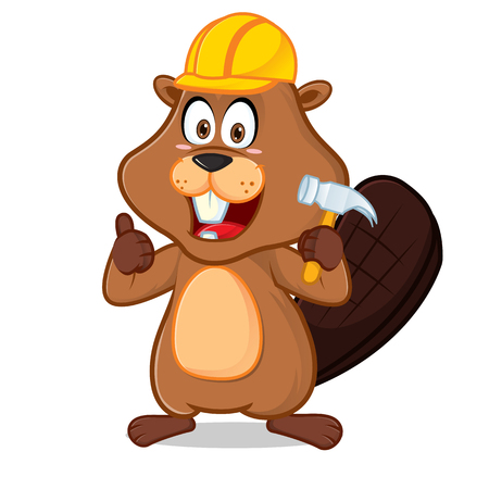 Beaver wearing helmet carrying hammer cartoon illustration, can be download in vector format for unlimited image size. Archivio Fotografico - 117614633