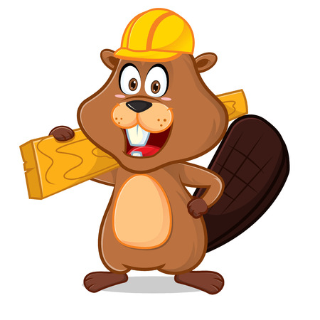 Beaver wearing helmet carrying wood plank cartoon illustration, can be download in vector format for unlimited image size.