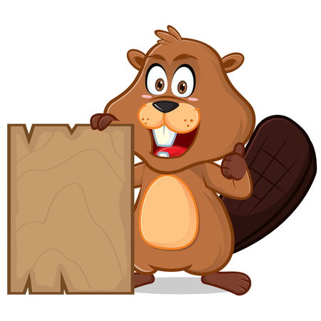 Beaver with blank wood plank cartoon illustration, can be download in vector format for unlimited image size. Ilustração