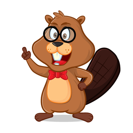 Beaver as nerd geek cartoon illustration, can be download in vector format for unlimited image size.