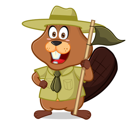 Beaver as boy scout or ranger cartoon illustration, can be download in vector format for unlimited image size. Vettoriali
