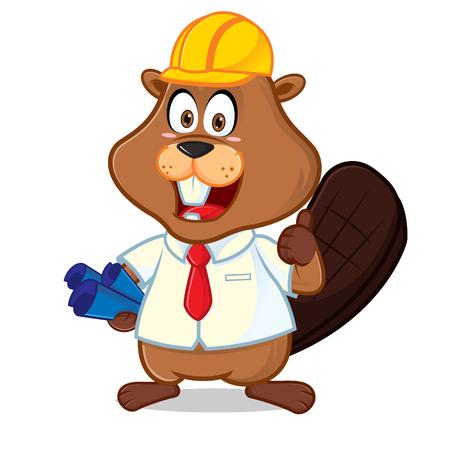 Beaver als ingenieur die een cartoonillustratie met blauwe print draagt, kan worden gedownload in vectorformaat voor onbeperkte afbeeldingsgrootte.
