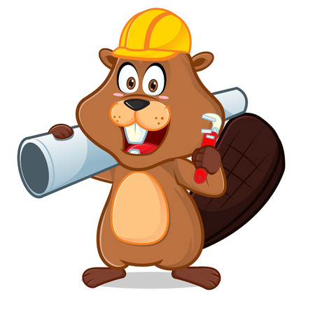 Beaver carrying pipe and wrench cartoon illustration, can be download in vector format for unlimited image size.