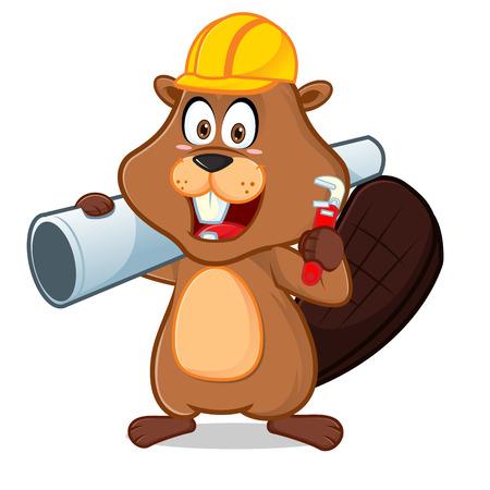 La ilustración de dibujos animados de castor con tubería y llave se puede descargar en formato vectorial para un tamaño de imagen ilimitado