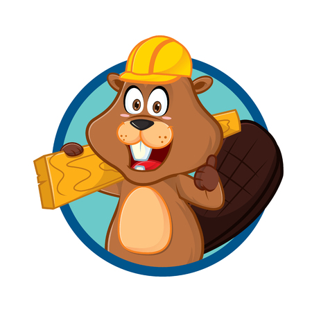 Beaver carrying wood give thumb up cartoon illustration, can be download in vector format for unlimited image size.