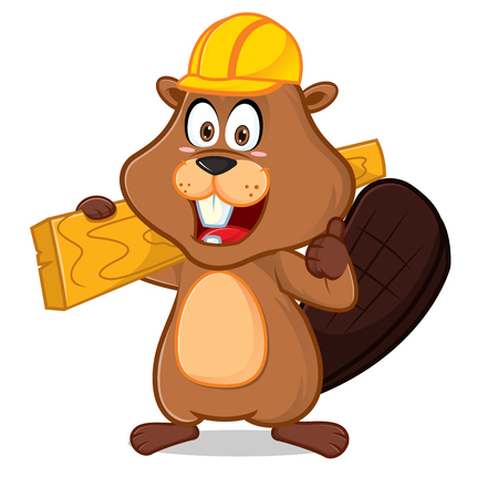 Beaver carrying wood plank give thumb up cartoon illustration, can be download in vector format for unlimited image size. Archivio Fotografico - 117614643