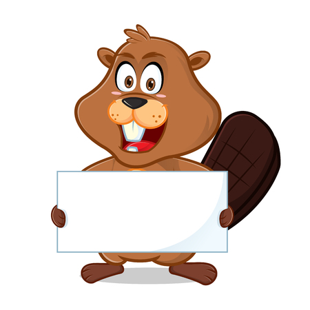 Beaver holding blank sign cartoon illustration, can be download in vector format for unlimited image size.
