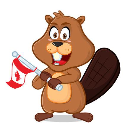 Castor sosteniendo la ilustración de dibujos animados de la bandera de Canadá, se puede descargar en formato vectorial para un tamaño de imagen ilimitado.