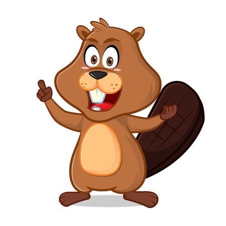 Beaver pointing and smiling cartoon illustration, can be download in vector format for unlimited image size. Vettoriali