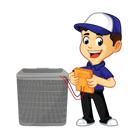 hvac cleaner or technician checking air conditioner cartoon illustration, can be download in vector format for unlimited image size Vettoriali