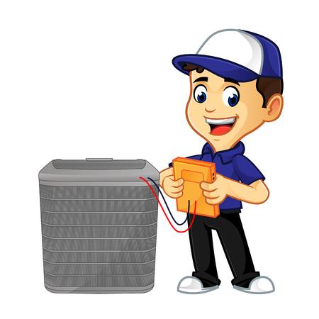 hvac-reiniger of technicus die de cartoonillustratie van de airconditioner controleert, kan worden gedownload in vectorformaat voor onbeperkte afbeeldingsgrootte Vector Illustratie