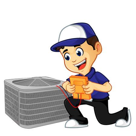nettoyeur cvc ou technicien vérifiant l'illustration de dessin animé de climatiseur, peut être téléchargé au format vectoriel pour une taille d'image illimitée