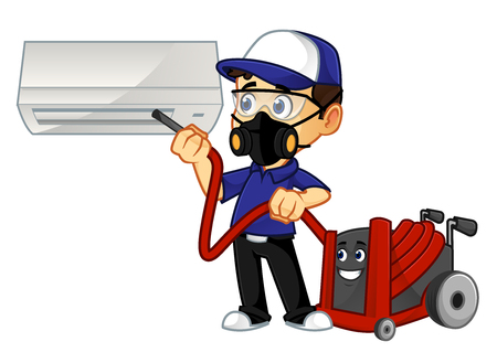 hvac cleaner or technician cleaning air conditioner cartoon illustration, can be download in vector format for unlimited image size Vettoriali
