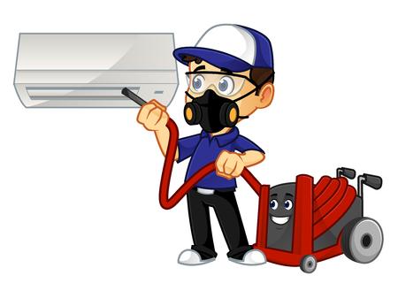 Limpiador de HVAC o técnico que limpia la ilustración de dibujos animados del acondicionador de aire, se puede descargar en formato vectorial para un tamaño de imagen ilimitado