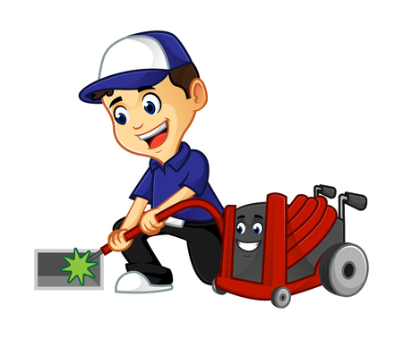 hvac cleaner or technician cleaning air duct smiling cartoon illustration, can be download in vector format for unlimited image size Archivio Fotografico - 125119647