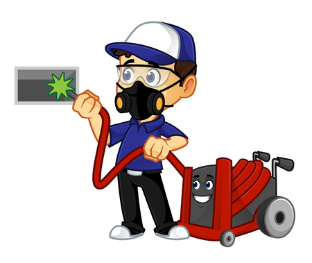 HVAC-Reiniger oder Techniker reinigen Luftkanal tragen Maske Cartoon Illustration, kann im Vektorformat für unbegrenzte Bildgröße heruntergeladen werden