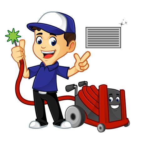 nettoyeur cvc ou technicien nettoyant l'illustration de dessin animé de conduit d'air, peut être téléchargé au format vectoriel pour une taille d'image illimitée