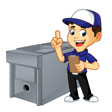 hvac cleaner or techniciandoing hvac job list cartoon illustration, can be download in vector format for unlimited image size 向量圖像