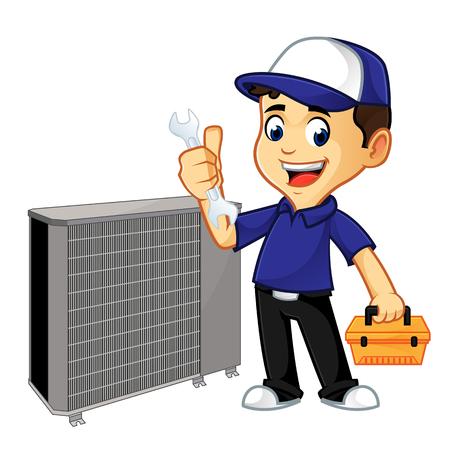 nettoyeur cvc ou technicien fixant l'illustration de dessin animé de climatiseur, peut être téléchargé au format vectoriel pour une taille d'image illimitée