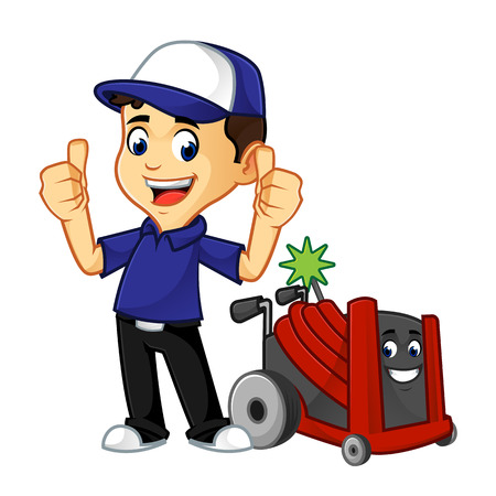 Hvac Cleaner or technician give thumbs up cartoon illustration, can be download in vector format for unlimited image size