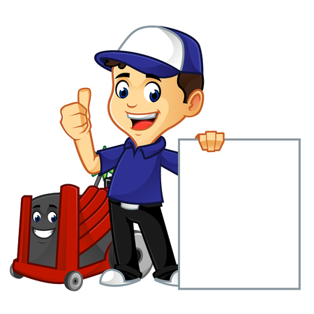 hvac cleaner or technician hold blank sign cartoon illustration, can be download in vector format for unlimited image size