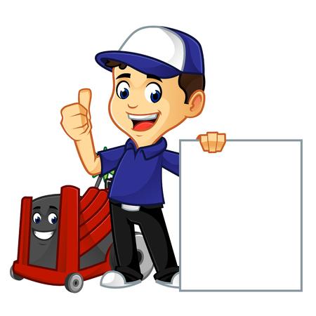 un nettoyeur ou un technicien de cvc tient une illustration de dessin animé de signe vierge, peut être téléchargé au format vectoriel pour une taille d'image illimitée
