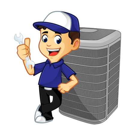 Hvac Cleaner or technician leaning on air conditioner cartoon illustration, can be download in vector format for unlimited image size Archivio Fotografico - 125119654
