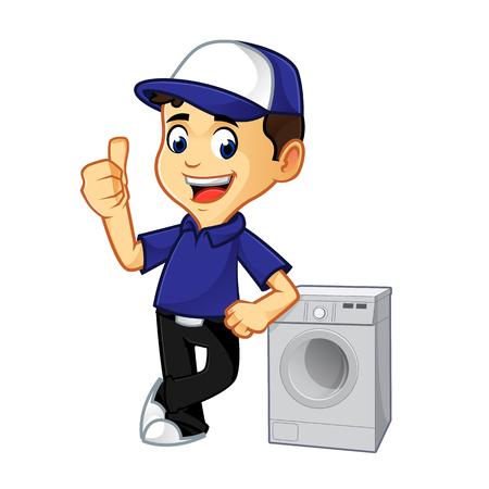 Hvac-reiniger of technicus die op de cartoonillustratie van de wasmachine leunt, kan worden gedownload in vectorformaat voor onbeperkte afbeeldingsgrootte