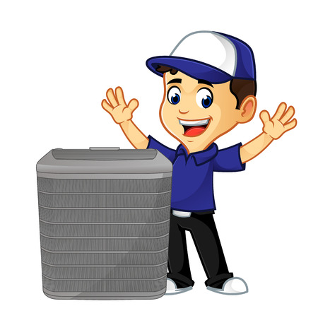 Hvac Cleaner or technician with air conditioner happy cartoon illustration, can be download in vector format for unlimited image size Archivio Fotografico - 117614748