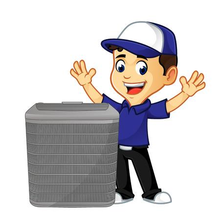 Hvac-Reiniger oder Techniker mit glücklicher Karikaturillustration der Klimaanlage, kann im Vektorformat für unbegrenzte Bildgröße heruntergeladen werden Vektorgrafik