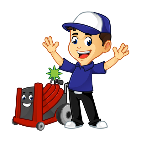Hvac Cleaner or technician with rotobrush happy cartoon illustration, can be download in vector format for unlimited image size