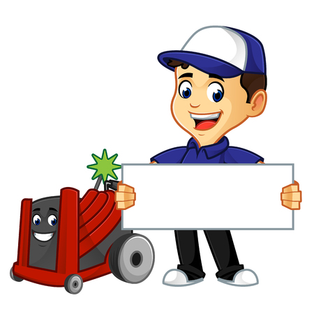 Hvac Cleaner or technician with rotobrush hold sign cartoon illustration, can be download in vector format for unlimited image size