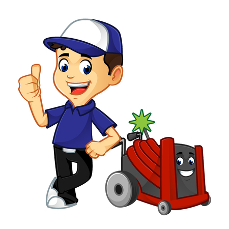 Hvac Cleaner or technician with rotobrush leaning cartoon illustration, can be download in vector format for unlimited image size Vettoriali