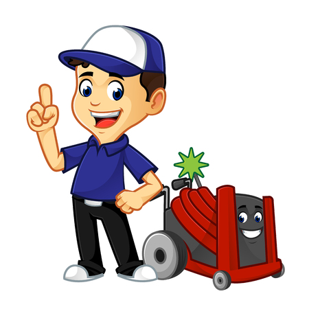 Hvac Cleaner or technician with rotobrush pointing cartoon illustration, can be download in vector format for unlimited image size
