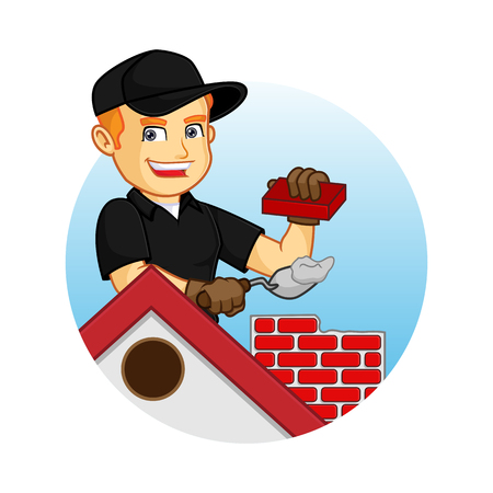 Chimney Sweeper building chimney cartoon illustration, can be download in vector format for unlimited image size Banco de Imagens - 124948565