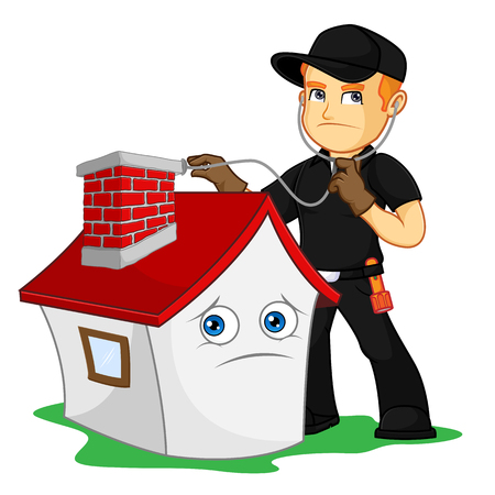 Chimney Sweeper checking chimney cartoon illustration, can be download in vector format for unlimited image size Ilustração