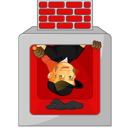 Chimney Sweeper cleaning fireplace hold flashlight cartoon illustration, can be download in vector format for unlimited image size Archivio Fotografico - 117581503