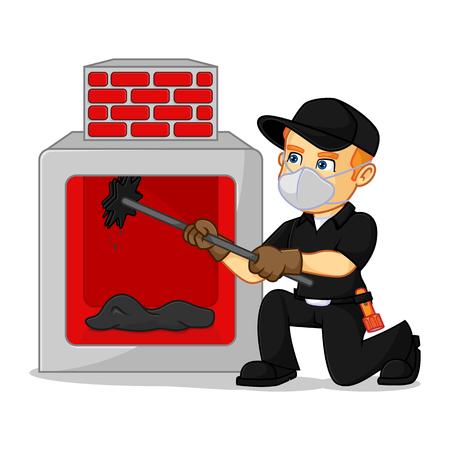 Schornsteinfeger Reinigung Kamin Cartoon Illustration, kann im Vektorformat für unbegrenzte Bildgröße heruntergeladen werden
