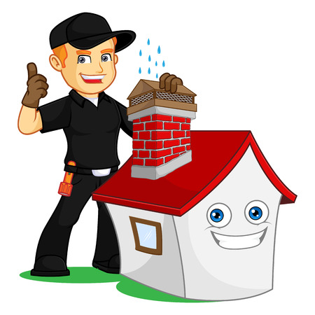 Chimney Sweeper give chimney cap cartoon illustration, can be download in vector format for unlimited image size Archivio Fotografico - 117581521