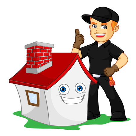 give thumb up with smiling house cartoon illustration, can be download in vector format for unlimited image size