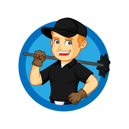 Chimney Sweeper hold broom inside circle cartoon illustration, can be download in vector format for unlimited image size